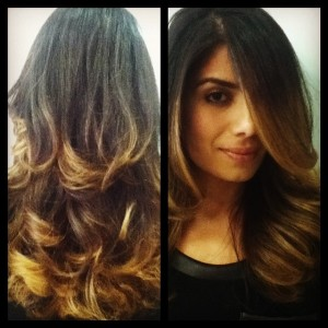 layered haircut and blow dry